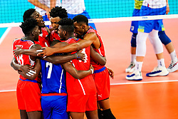 Players of Cuba celebrate during volleyball match between Cuba and Slovenia in Final of FIVB Volleyball Challenger Cup Men, on July 7, 2019 in Arena Stozice, Ljubljana, Slovenia. Photo by Matic Klansek Velej / Sportida