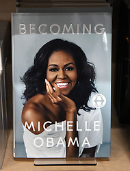 Michelle Obama's new book, Becoming, is on display at Politics and Prose bookstore in Washington, DC on November 13, 2018.The former first lady reflects on her road to the White House, the 2016 election, and raising her daughters in the public eye. Photo by Olivier Douliery/ABACAPRESS.COM
