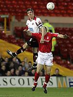Fotball<br /> England 2004/2005<br /> Foto: SBI/Digitalsport<br /> NORWAY ONLY<br /> <br /> Nottingham Forest v Sheffield United<br /> City Ground, Nottingham<br /> Coca Cola Championship<br /> 12/04/2005<br /> <br /> Chris Morgan and Scott Dobie