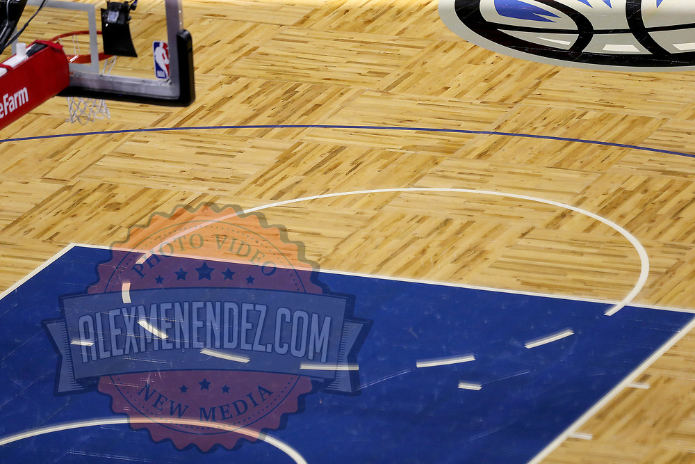 ORLANDO, FL - FEBRUARY 17:   The free throw line at Amway Center is seen druring a game between the New York Knicks and Orlando Magic on February 17, 2021 in Orlando, Florida. NOTE TO USER: User expressly acknowledges and agrees that, by downloading and or using this photograph, User is consenting to the terms and conditions of the Getty Images License Agreement. (Photo by Alex Menendez/Getty Images)*** Local Caption ***