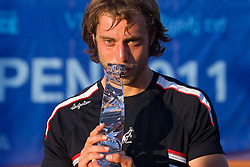 Paolo Lorenzi of Italy celebrates with a trophy after winning during the final match during day seven of the ATP Challenger Tour BMW Ljubljana Open 2011, on September 25, 2011, in TC Ljubljana Siska, Slovenia. (Photo by Vid Ponikvar / Sportida)
