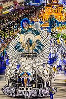 Floats in the Carnaval parade of Unidos da Tijuca samba school in the Sambadrome, Rio de Janeiro, Brazil.
