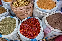 Sacks of grains, street market, Addis Ababa, Ethiopia.