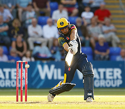 Glamorgan's Andrew Salter in action today <br /> <br /> Photographer Simon King/Replay Images<br /> <br /> Vitality Blast T20 - Round 8 - Glamorgan v Gloucestershire - Friday 3rd August 2018 - Sophia Gardens - Cardiff<br /> <br /> World Copyright © Replay Images . All rights reserved. info@replayimages.co.uk - http://replayimages.co.uk