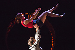 "© Licensed to London News Pictures. 09/01/2014. London, England. Pictured: Elise Legros and Cyrille Musy. UK Premiere of Compagnie MPTA/Mathurin Bolze ""A Bas Bruit"" at the Linbury Studio Theatre, Royal Opera House, as part of the 2014 London International Mime Festival. Video, dance and circus come together in this show performed by Mitia Fedontenko, Elise Legros and Cyrille Musy. Photo credit: Bettina Strenske/LNP"