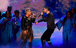 Pink and Dan Smith on stage at the Brit Awards 2019 at the O2 Arena, London.