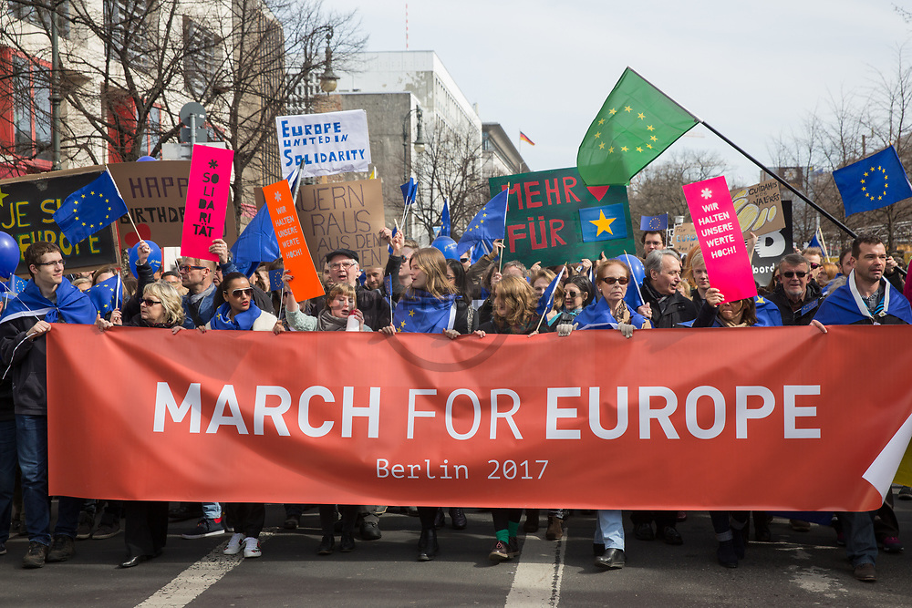 """Berlin, Germany - 25.03.2017<br /> <br /> 60th anniversary of the Treaty of Rome: Thousands of people participate in the pro EU demonstration """"March for Europe"""" in Berlin.<br /> <br /> 60. Jahrestag der Roemischen Vertraege: Tausende Menschen beteiligen sich an der pro EU-Demonstration """"March for Europe"""" in Berlin.<br />  <br /> Photo: Bjoern Kietzmann"""
