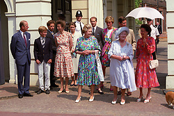 File photo dated 04/08/90 of (left to right) the Duke of Edinburgh, Peter Phillips, Viscount David Linley, the Princess Royal, Lady Sarah Armstrong-Jones, Queen Elizabeth II, Prince Edward, Diana, Princess of Wales, the Prince of Wales, the Queen Mother and Princess Margaret at Clarence House for the Queen Mother's 90th birthday. The Queen and Prince Philip will celebrate their platinum wedding anniversary on November 20.