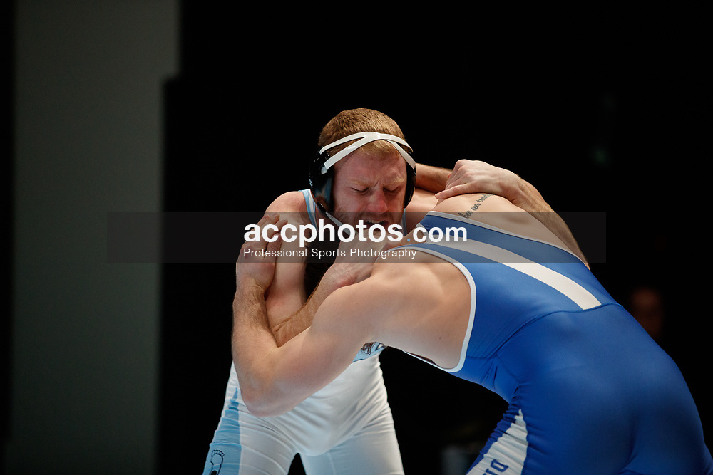 2018 February 14: North Carolina Tar Heels during a 28-14 win over the Duke Blue Devils at Memorial Hall in Chapel Hill, NC. <br /> <br /> 197 – No. 15 Danny Chaid (UNC) decision Alec Schenk (Duke), 7-4