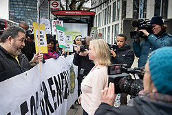 © Licensed to London News Pictures. 27/01/2020. London, UK. Felicity Buchan MP (C) for Kensington & Chelsea talks to protesters as she arrives for the start of phase two of Grenfell Inquiry. The second part of the inquiry into the fire that claimed the lives of 72 residents will consider important wider issues around the refurbishment and management of the Tower. Photo credit: Peter Macdiarmid/LNP