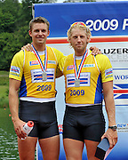Lucerne, SWITZERLAND,  GBR M2-,  Silver medalist  , Right, Andy TRIGGS-HODGE and  left, Peter REED, Third round of the  2009 FISA World Cup,  Rotsee Regatta Course, Sunday  12/07/2009 [Mandatory Credit Peter Spurrier/ Intersport Images].