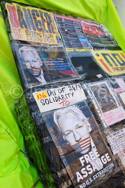 Hours after the Wikileaks co-founder Julian Assange was forcibly removed from the Ecuadorian embassy by British police, after his 7-year occupancy, political posters adorn the exterior in Knightsbridge, on 11th April 2019, in London England. (Photo by Richard Baker / In Pictures via Getty Images)