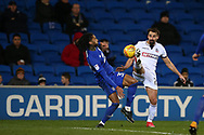Armand Traore of Cardiff city (l) challenges Filipe Morais of Bolton Wanderers. EFL Skybet championship match, Cardiff city v Bolton Wanderers at the Cardiff city Stadium in Cardiff, South Wales on Tuesday 13th February 2018.<br /> pic by Andrew Orchard, Andrew Orchard sports photography.