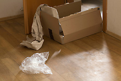 Close-up of torn cardboard box on floor
