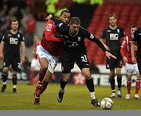 Fotball<br /> England<br /> Foto: Fotosports/Digitalsport<br /> NORWAY ONLY<br /> <br /> City Ground  Nottingham Forest v Birmingham City FA Cup Round 3 02/01/2010<br /> Dexter Blackstock  (Forest) Gregory Vignal   (Bham)