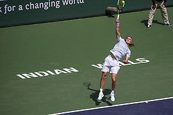 March 9, 2019 - Indian Wells, CA, U.S. - INDIAN WELLS, CA - MARCH 09: Stefanos Tsitsipas (GRE) serves during the BNP Paribas Open on March 9, 2019 at Indian Wells Tennis Garden in Indian Wells, CA. (Photo by George Walker/Icon Sportswire) (Credit Image: © George Walker/Icon SMI via ZUMA Press)