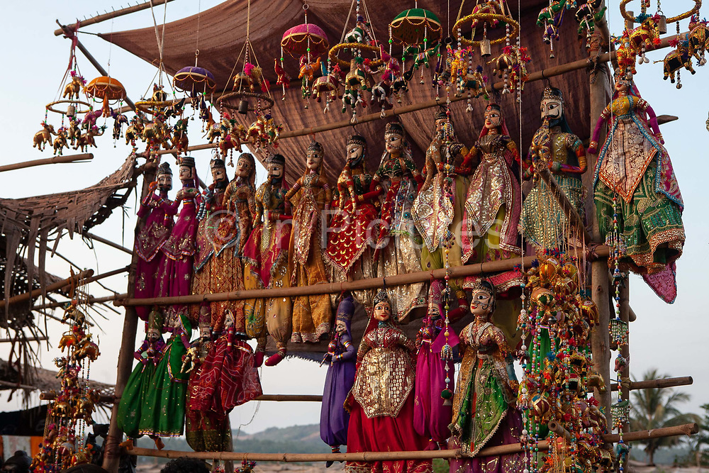 Brightly coloured dolls in a market on 30th December 2009 in Anjuna, Goa, India. .