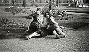 two women posing in a garden 1920s