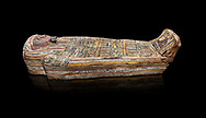 Ancient Egyptian wooden sarcophagus - the tomb of Tagiaset, Iuefdi, Harwa circa 7th cent BC - Thebes Necropolis. Egyptian Museum, Turin. black background .<br /> <br /> If you prefer to buy from our ALAMY PHOTO LIBRARY  Collection visit : https://www.alamy.com/portfolio/paul-williams-funkystock/ancient-egyptian-art-artefacts.html  . Type -   Turin   - into the LOWER SEARCH WITHIN GALLERY box. Refine search by adding background colour, subject etc<br /> <br /> Visit our ANCIENT WORLD PHOTO COLLECTIONS for more photos to download or buy as wall art prints https://funkystock.photoshelter.com/gallery-collection/Ancient-World-Art-Antiquities-Historic-Sites-Pictures-Images-of/C00006u26yqSkDOM