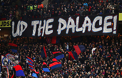 A Crystal Palace banner saying 'UP THE PALACE' during the Premier League match at Selhurst Park, London.