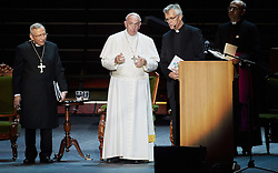 October 31, 2016 - Malm√, Sweden - Bishop Munib A. Younan, President of Lutheran World Federation, Pope Francis,  and  and Rev. Martin Junge, General Secretary of LWF are seen on stage during the 'Together in Hope' event at Malmo Arena on October 31, 2016 in Malmo, Sweden. The Pope is on 2 days visit attending Catholic-Lutheran Commemoration in Lund and Malmo.  (Credit Image: © Aftonbladet/IBL via ZUMA Wire)
