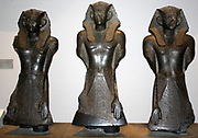 Three Egyptian statues of King Sesostris III (Also known as Senusret III). Twelfth Dynasty (approx. 1850 BC) from Deir el Bahri. Made from black granite.