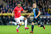 Manchester United forward Anthony Martial (9) shields the ball from Club Brugge midfielder Ruud Vormer (25) during the Europa League match between Club Brugge and Manchester United at Jan Breydel Stadion, Brugge, Belguim on 20 February 2020.
