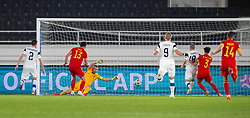 HELSINKI, FINLAND - Thursday, September 3, 2020: Wales' Kieffer Moore scores the only goal of the game past Finland's goalkeeper Lukáš Hrádecký during the UEFA Nations League Group Stage League B Group 4 match between Finland and Wales at the Helsingin Olympiastadion. Wales won 1-0. (Pic by Jussi Eskola/Propaganda)