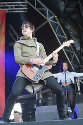 Josh Ward, guitarist with the English indie band Brother, play the main stage at Rockness 2011..Pic ©2011 Michael Schofield. All Rights Reserved..