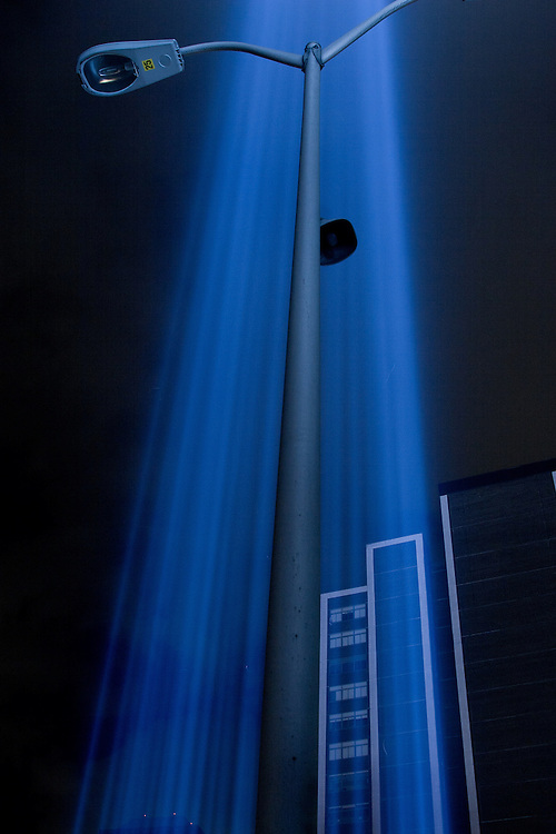 """The """"towers of light"""" shoot through the night sky on September 11th, 2009. The lights have become an annual event to honor the victims of 9/11 and the World Trade Center."""