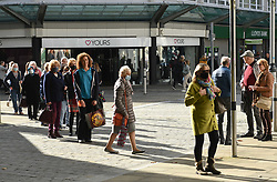 © Licensed to London News Pictures. 22/10/2020. City, UK. Shoppers queue outside a Marks & Spencers store in Swansea city centre, south Wales, on the day before non-essential shops close due to the 'Firebreak Lockdown' which has been implemented by the Welsh Government. Photo credit: Robert Melen/LNP