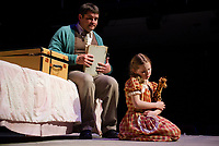 """Uncle Rudy (Michael G. Baker) and Little Girl (Janney Brook Halperin) during dress rehearsal for Act One - But The Giraffe for the Winnipesaukee Playhouse production of """"The Brundibar Project"""" Tuesday evening.  (Karen Bobotas/for the Laconia Daily Sun)"""