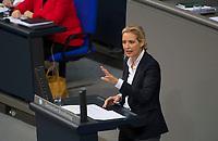 DEU, Deutschland, Germany, Berlin, 27.11.2019: Die Vorsitzende der AfD-Bundestagsfraktion, Alice Weidel, bei einer Rede während einer Plenarsitzung im Deutschen Bundestag.