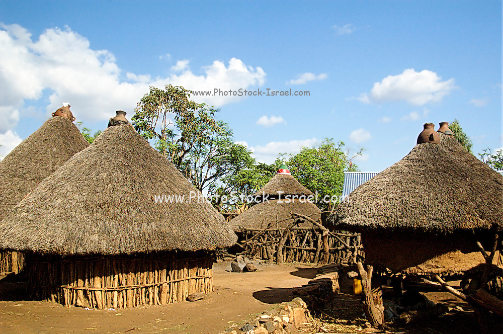 Africa, Ethiopia, Konso village Thatched roof huts