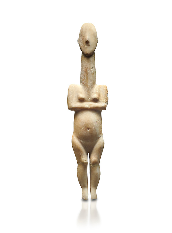Cycladic statue figurine of the naturalistic 'Plastira' type of Paros from Glypha cemetery, grave 23, Cat no 4762. Early Cycladic Period I (Grotta-Pelos Phase 3200-2800 BC). National Archaeological Museum, Athens.   White background.<br /> <br /> <br /> This type of Cycladic figurine stand with feet lat to the ground with detailed facial features and ears to make a more realistic statue. .<br /> <br /> If you prefer to buy from our ALAMY PHOTO LIBRARY  Collection visit : https://www.alamy.com/portfolio/paul-williams-funkystock/cycladic-art-artefacts.html Type into the LOWER SEARCH WITHIN GALLERY box to refine search by adding background colour, place, museum etc<br /> <br /> Visit our CYCLADIC CIVILISATIONS PHOTO COLLECTIONS for more photos to download or buy as wall art prints https://funkystock.photoshelter.com/gallery-collection/Cycladic-civilisation-Ancient-Greek-Artefacts-art-Photos-Pictures-Images/C0000CmevVvnC.XU