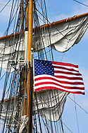 KEVIN BARTRAM/The Daily News<br /> An American flag flies from the tall ship Elissa on Monday, March 27, 2006. The ship sailed from the Port of Galveston as part of annual sea trials.