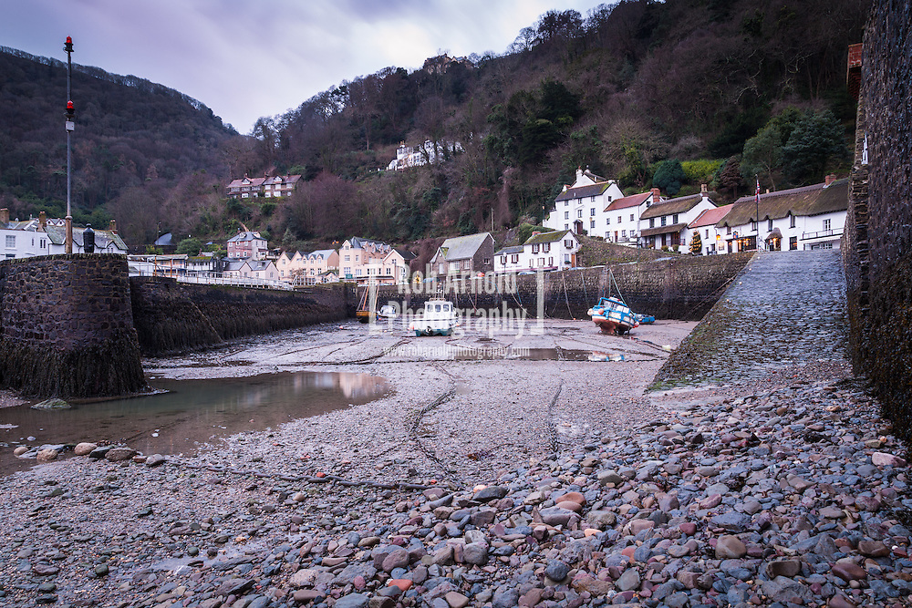 Boats in Lynmouth Harbour in North Devon