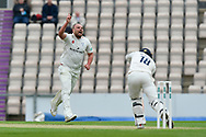 Wicket - Joe Leach of Worcestershire celebrates the opening wicket of Lewis McManus of Hampshire during the Specsavers County Champ Div 1 match between Hampshire County Cricket Club and Worcestershire County Cricket Club at the Ageas Bowl, Southampton, United Kingdom on 13 April 2018. Picture by Graham Hunt.