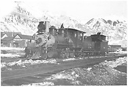"""RGS 2-8-0 #12 at Telluride.<br /> RGS  Telluride, CO  ca 1910<br /> In book """"RGS Story, The Vol II: Telluride, Pandora and the Mines Above"""" page 96<br /> Also in """"Silver San Juan"""", p. 593.<br /> See RD155-087 for an enlargement."""