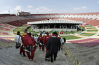7 October 2006: Players walk down the peristyle steps two hours before the start of the  NCAA College Football Pac-10 USC Trojans 26-6 win over the Washington Huskies at the LA Coliseum during a sunny saturday game in Los Angeles, CA.<br />