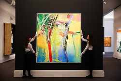 © Licensed to London News Pictures. 07/02/2020. London, UK. Technicians hang Gerhard Richter's paining titled 'Ziege (Goat)' (Est £6 - £8 million) at the preview of Sotheby's Contemporary Art. The auction will take place at Sotheby's in central London on 11 and 12 February 2020. Photo credit: Dinendra Haria/LNP
