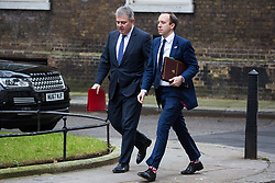 London, UK. 15th January, 2019. Brandon Lewis MP, Minister Without Portfolio, and Matt Hancock, Minister for Health and Social Care, arrive at 10 Downing Street for a Cabinet meeting on the day of the vote in the House of Commons on Prime Minister Theresa May's proposed final Brexit withdrawal agreement.