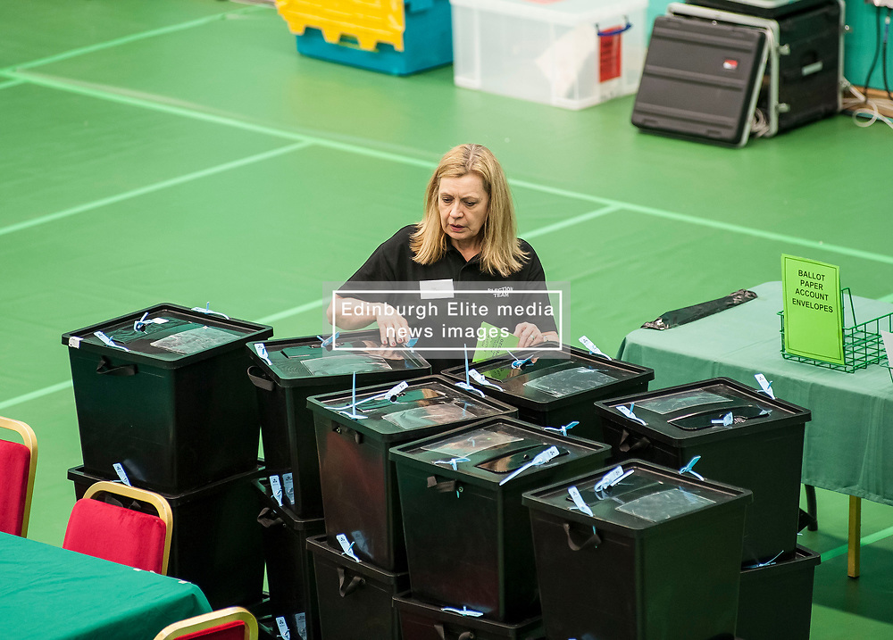 postal ballot boxes are checked prior to the close of polling at the Fife election counting centre in Glenrothes.<br /> <br /> © Dave Johnston/ EEm