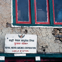 The office of Royal Nepal Airlines in Lukla, a scene of conflict in the Khumbu region of Nepal's Himalaya.