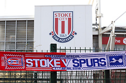 """A half and half match scarf outside the ground before the Premier League match at the bet365 Stadium, Stoke. PRESS ASSOCIATION Photo. Picture date: Saturday April 7, 2018. See PA story SOCCER Stoke. Photo credit should read: Nigel French/PA Wire. RESTRICTIONS: EDITORIAL USE ONLY No use with unauthorised audio, video, data, fixture lists, club/league logos or """"live"""" services. Online in-match use limited to 75 images, no video emulation. No use in betting, games or single club/league/player publications."""