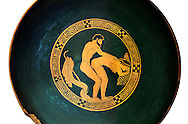 Greek Attica pottery plate with erotic depiction of a man and women, 5th century BC, Secret Museum or Secret Cabinet, Naples National Archaeological Museum , white background .<br /> <br /> If you prefer to buy from our ALAMY PHOTO LIBRARY  Collection visit : https://www.alamy.com/portfolio/paul-williams-funkystock - Scroll down and type - Roman Art Erotic  - into LOWER search box. {TIP - Refine search by adding a background colour as well}.<br /> <br /> Visit our ROMAN ART & HISTORIC SITES PHOTO COLLECTIONS for more photos to download or buy as wall art prints https://funkystock.photoshelter.com/gallery-collection/The-Romans-Art-Artefacts-Antiquities-Historic-Sites-Pictures-Images/C0000r2uLJJo9_s0