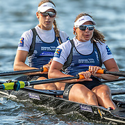 Olivia Loe (stroke) and Brooke Donoghue Race the premier double sculls<br /> <br /> Racing the Christmas Regatta on Lake Karapiro, Cambridge, New Zealand. Saturday 14 December 2019  © Copyright photo Steve McArthur / www.photosport.nz