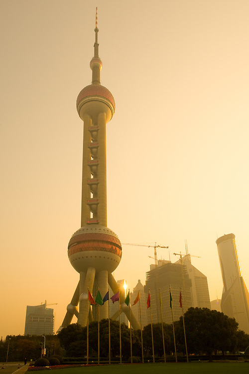 Pudong, Shanghai, China, November 26, 2008: Oriental Pearl Tower and city skyline in Pudong.