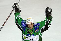 Tomaz Vnuk  celebrates at 39th Round of EBEL League ice hockey match between HDD Tilia Olimpija and Acroni Jesenice, on December 30, 2008, in Arena Tivoli, Ljubljana, Slovenia. Tilia Olimpija won 4:3.(Photo by Vid Ponikvar / SportIda).