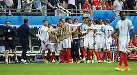 GOAL CELEBRATION - England's Jamie Vardy celebrates scoring his sides first goal <br /> <br /> Photographer Kevin Barnes/CameraSport<br /> <br /> International Football - 2016 UEFA European Championship - Group B - England v Wales - Thursday, 16th June 2016 - Stade Bollaert-Delelis, Lens Agglo, France<br /> <br /> World Copyright © 2016 CameraSport. All rights reserved. 43 Linden Ave. Countesthorpe. Leicester. England. LE8 5PG - Tel: +44 (0) 116 277 4147 - admin@camerasport.com - www.camerasport.com